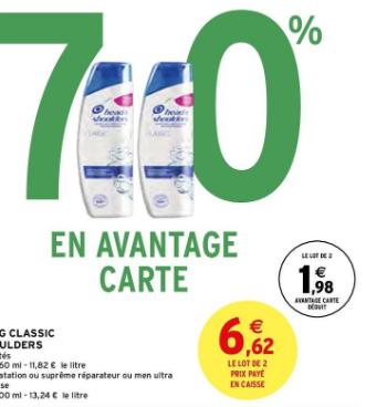 Lot de 2 shampooings Head & Shoulders (via 4,64€ sur la carte de fidélité) - 2 x 280ml