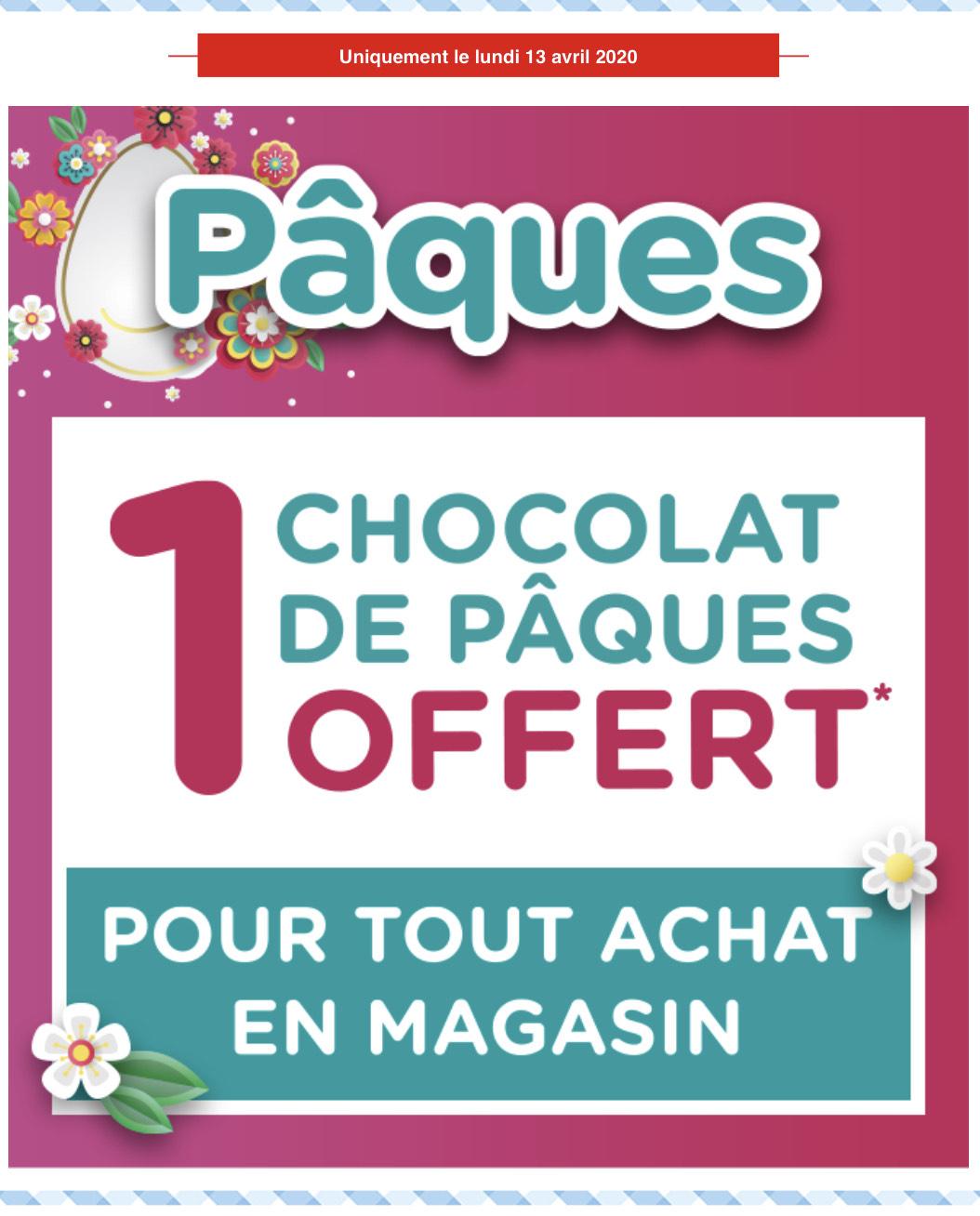 1 chocolat de Pâques offert lors d'un passage en caisse