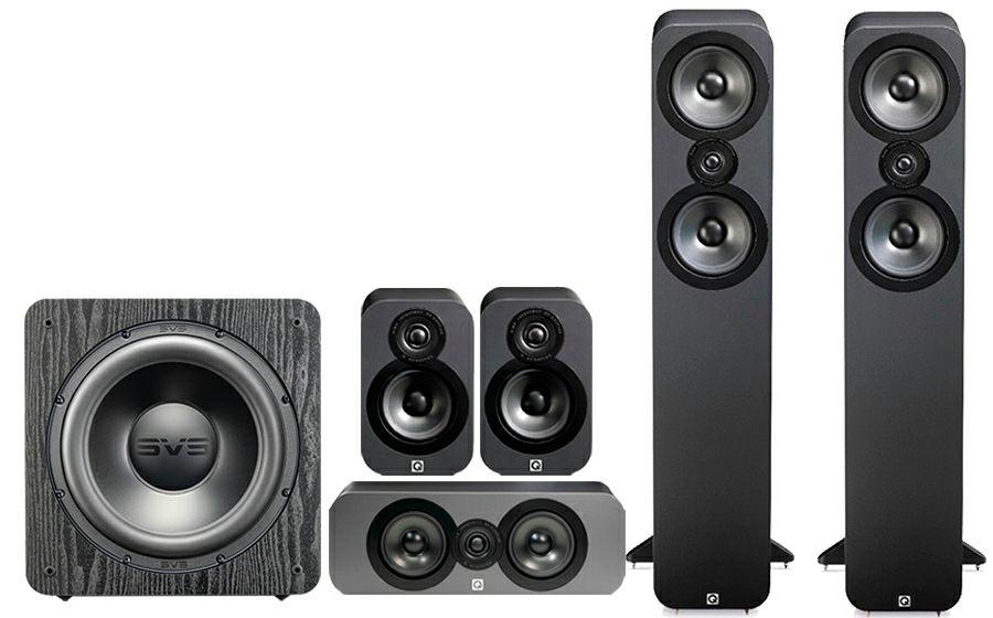 Pack Enceintes Home-cinéma 5.1 hi-fi Q Acoustics 3050 Cinema Pack + Caisson de basses subwoofer SVS SB 2000 Pro