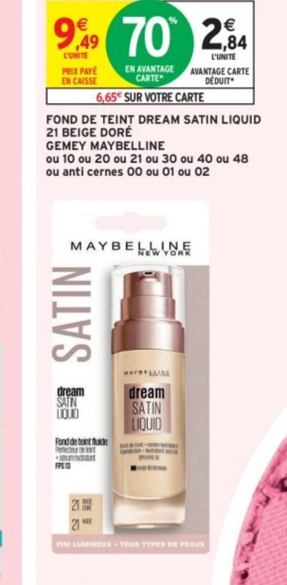 Fond de teint Dream Satin Liquid Gemey Maybelline (Via 6.65€ sur la carte)