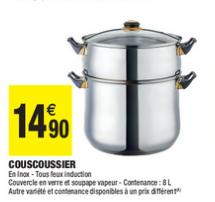 Couscoussier - 8 L, en inox, tous feux dont induction