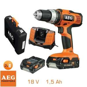 Perceuse à percussion AEG Powertools - 18V, mandrin 13mm, 2 batteries 1,5Ah + chargeur