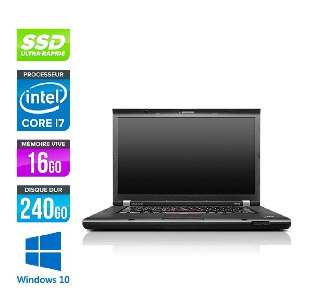 "PC portable 15.6"" full HD Lenovo ThinkPad W530 (i7-3740QM, Quadro K2000M, 16 Go RAM, 240 Go SSD, Windows 10, avec sacoche) - reconditionné"