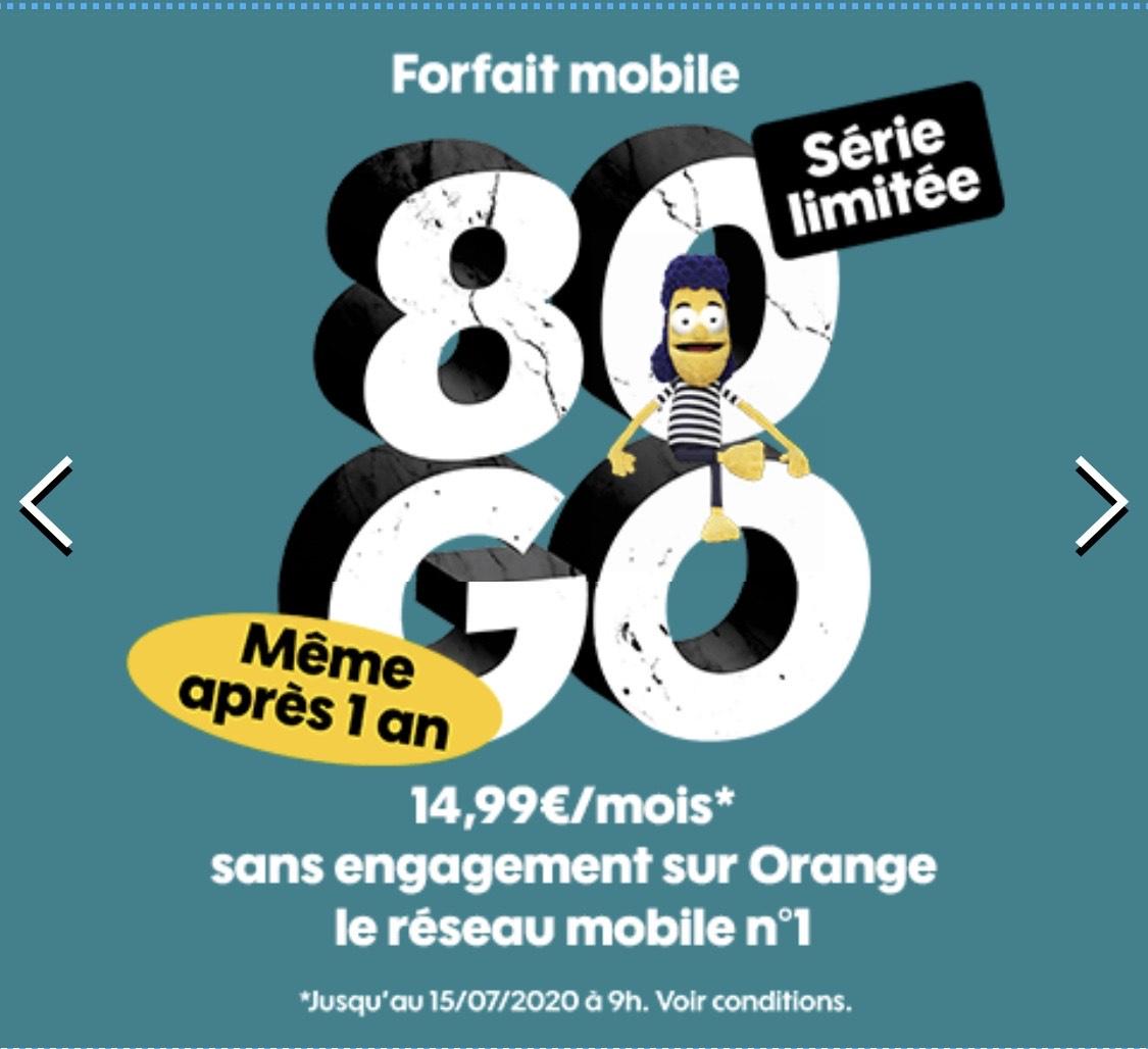 [Nouveaux Clients] Forfait mobile Sosh : Appels/SMS/MMS illimités + 80 Go DATA France / 10 Go Europe (sans conditions de durée)