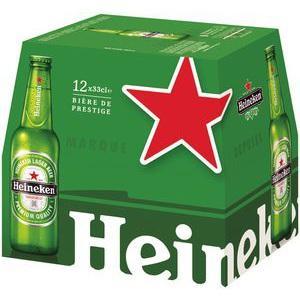 Pack de bières Heineken 12 x 33 cl (avec 5.20€ sur la carte)