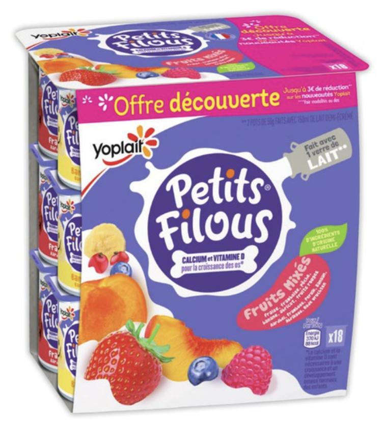 Paquet de 18 Petits Filous Yoplait - 18 x 50 g (Plusieurs variétés)