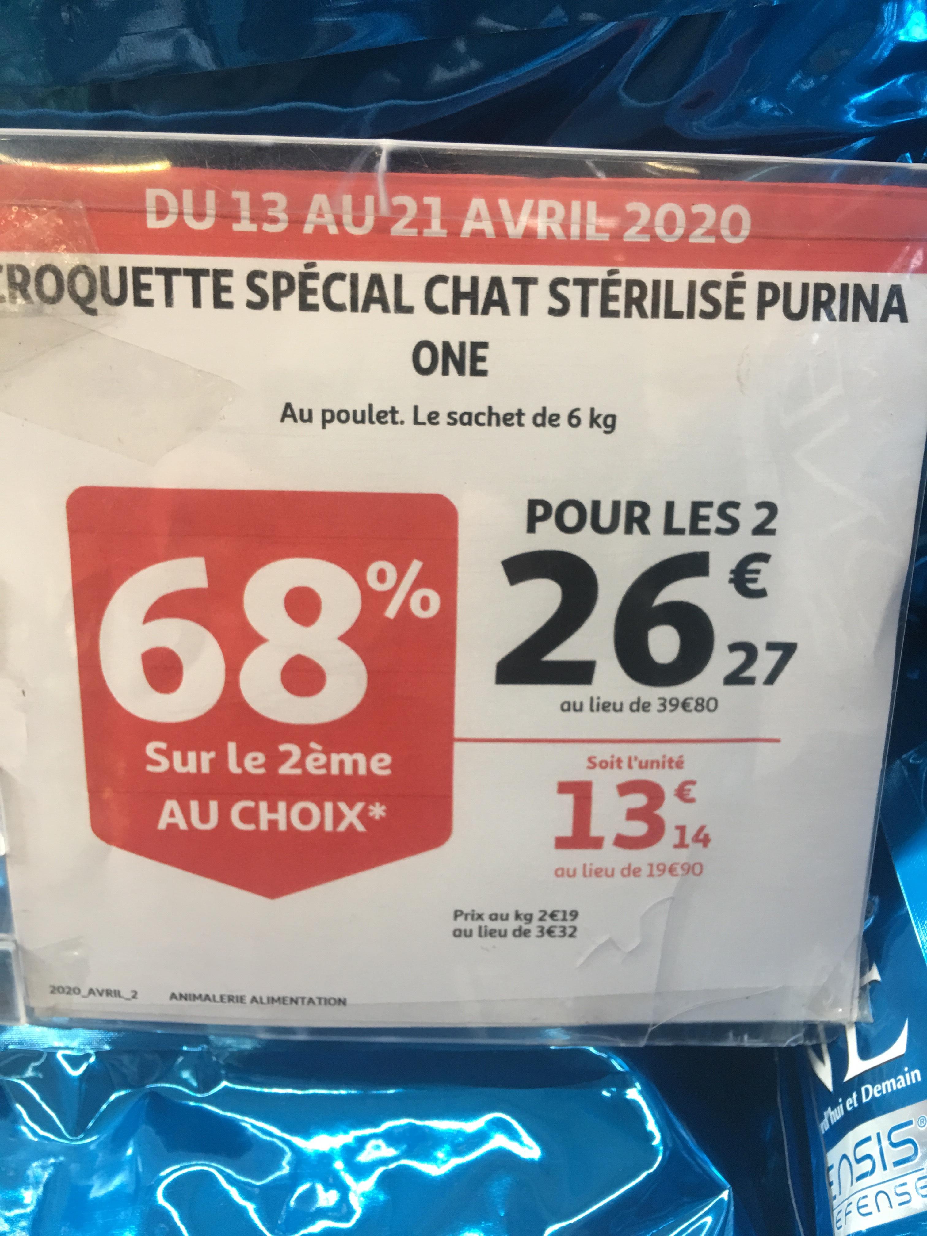 Lot de 2 paquets de Croquettes pour chat Purina One au poulet (6 kgs) - Montivilliers (76)