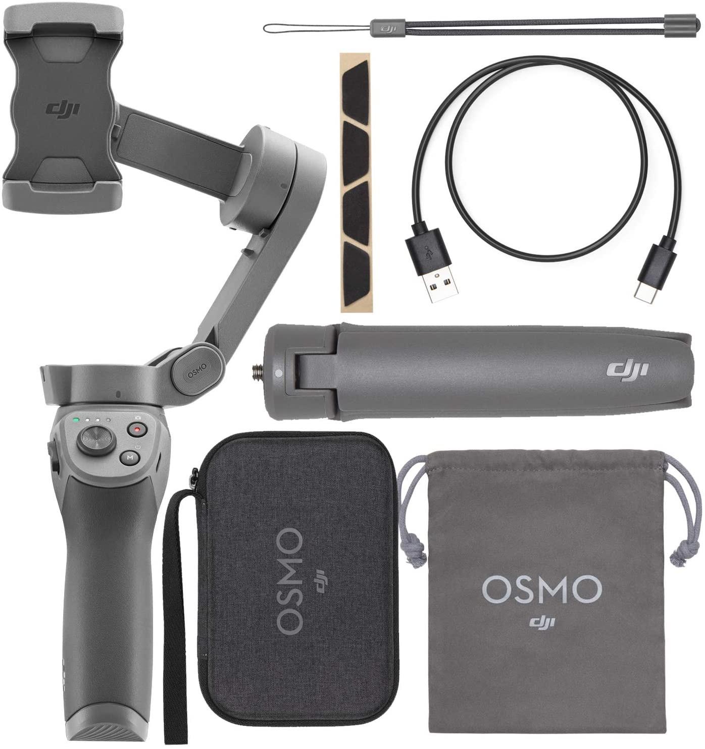 Pack DJI Osmo Mobile 3 - stabilisateur motorisé pour smartphone + trépied + housse