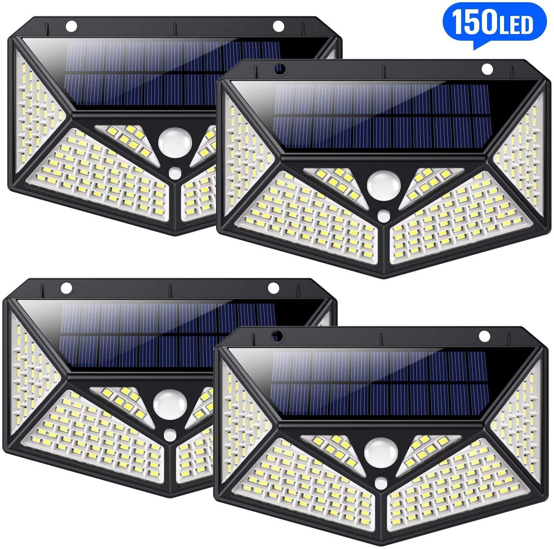 Pack de 4 Lampe Solaire Extérieur sans-fil HETP - Omnidirectionnel à 6 Côtés, 150 LED, Détecteur de Mouvemen, Étanche (Vendeur tiers)