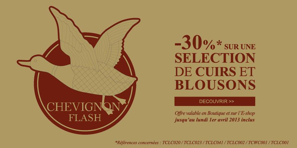 30 % de remise sur une sélection de cuirs et blousons
