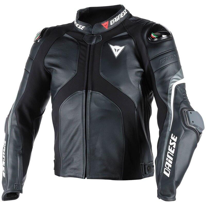 Blouson moto cuir Dainese Super Rider - Blanc ou Noir, Diverses tailles (martimotos.com)