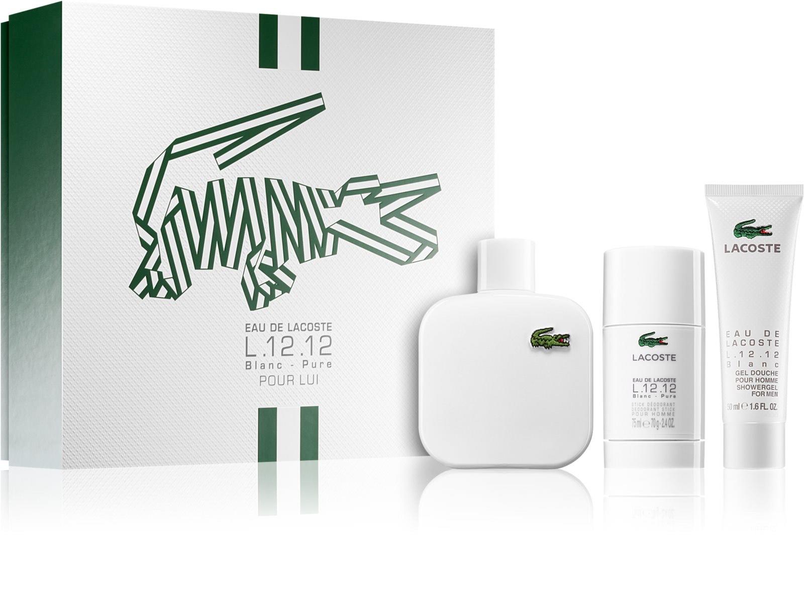 Coffret Homme Eau de toilette Lacoste L.12.12 Blanc 100 ml + Déodorant stick 75 ml + Gel de douche 50 ml