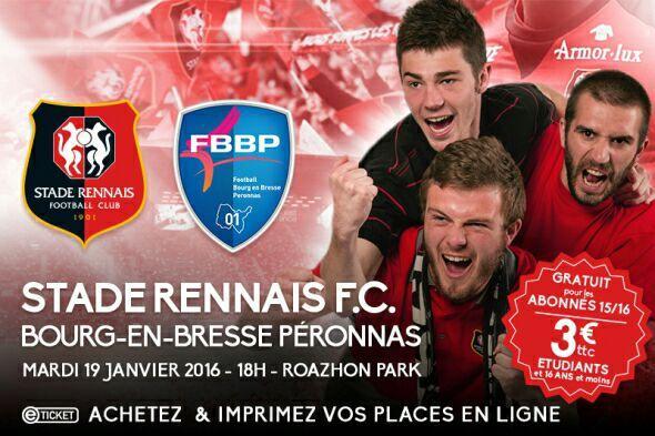 Place pour le match Stade Rennais / Bourg en Bresse - Gratuite pour les abonnés 15/16, 3€ pour les étudiants et moins de 16 ans ou 5€ en plein tarif