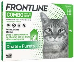 Paquet de 6 pipettes de protection anti-puces / anti-tiques pour chat Frontline Combo Spot-on Chat (beautyshop.fr)