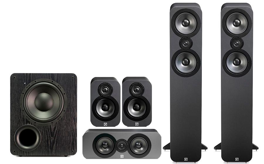 Système audio Q-Acoustics - 2 enceintes colonnes 3050 + 3 satellites + caisson de basses SVS PB 1000