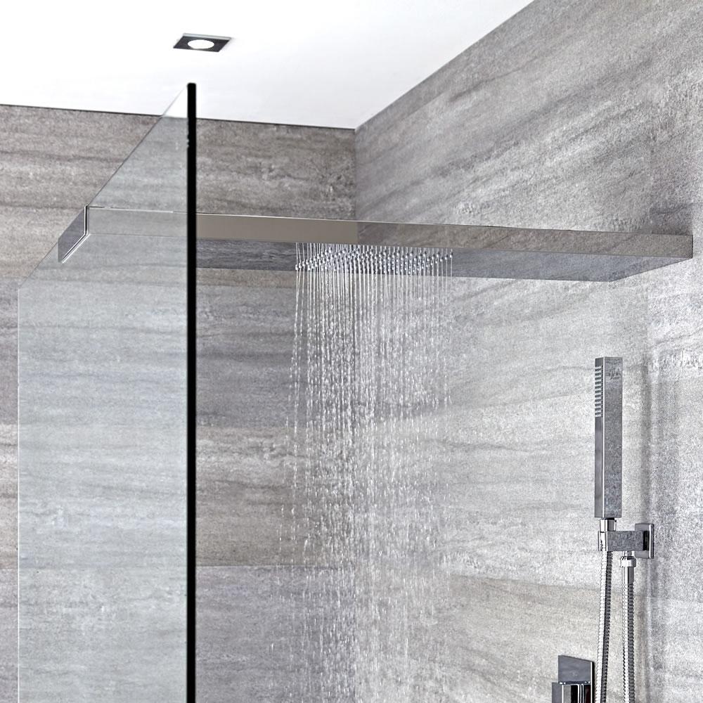 Pommeau de douche bras intégré pour paroi Iko - 25 x 80 cm