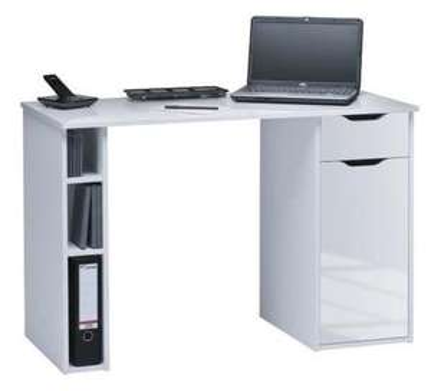 Bureau d'ordinateur Lancio - 115X50x75cm, blanc laqué