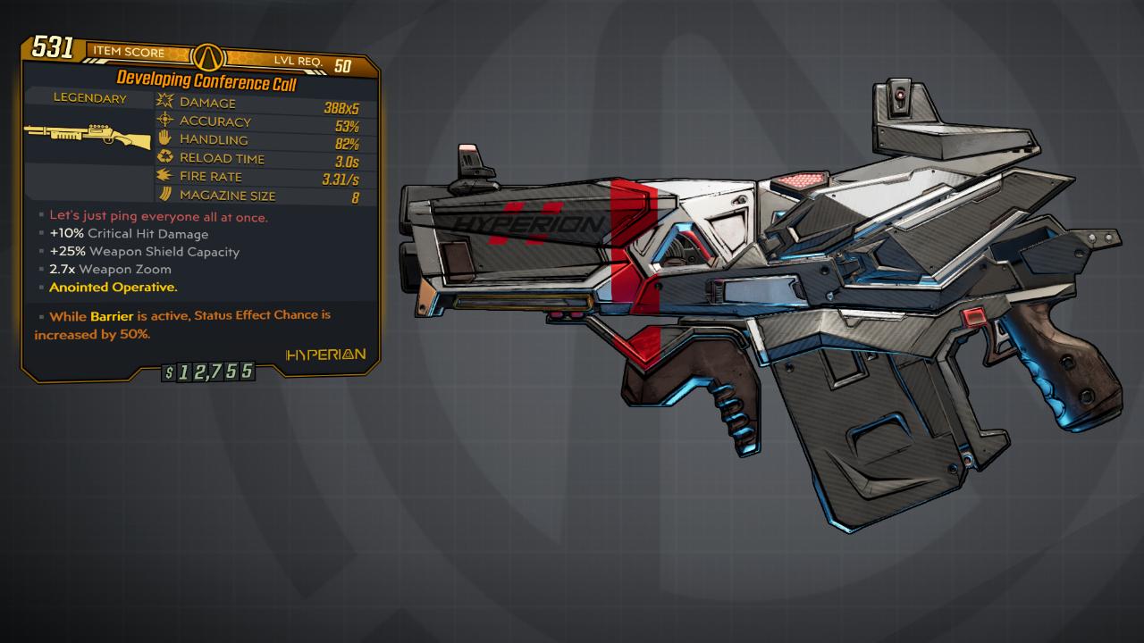 Contenu Gratuit pour Borderlands 3 - Arme légendaire Conference Call Shotgun sur PC, Xbox One & PS4 (Dématérialisé)