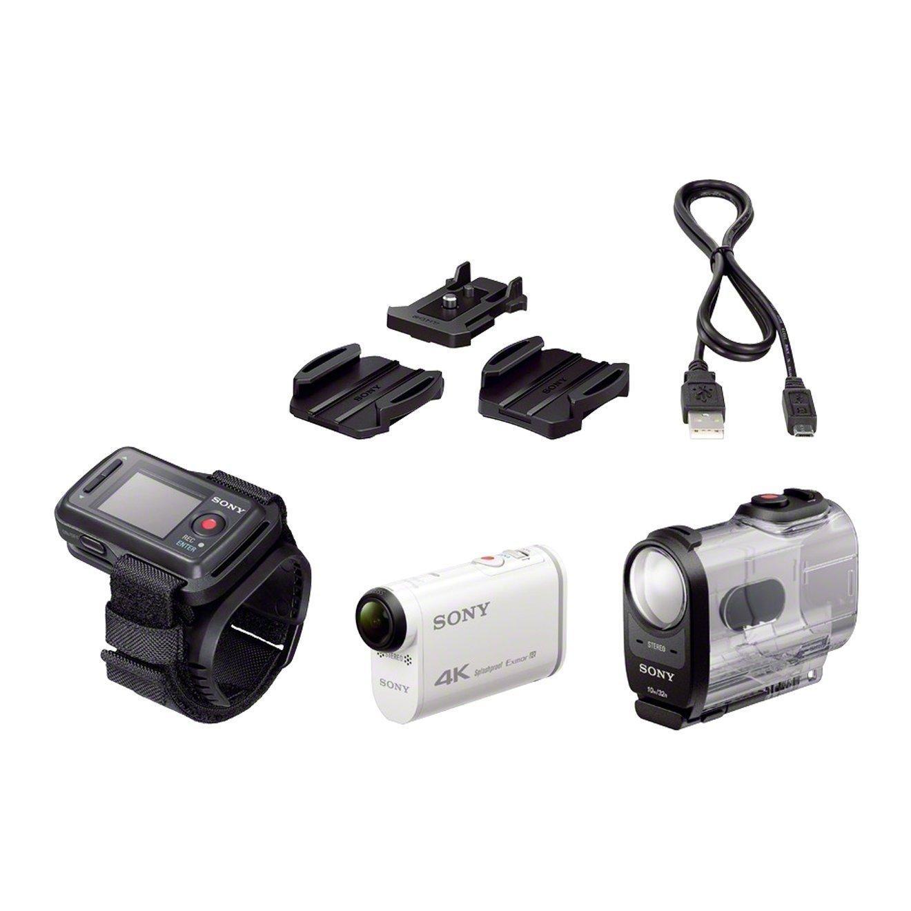 Caméra d'action sportive Sony FDRX1000VR - GPS intégré, 4K, Full HD, Wifi/NFC, Blanc + Montre de Pilotage