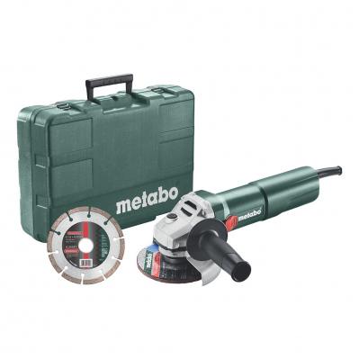 Meuleuse Métabo W 1100-125 SET - 1100 W, Ø125 mm, Coffret de rangement + disque diamant
