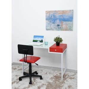 Bureau droit Aspen + tiroir - 100x50cm, Blanc