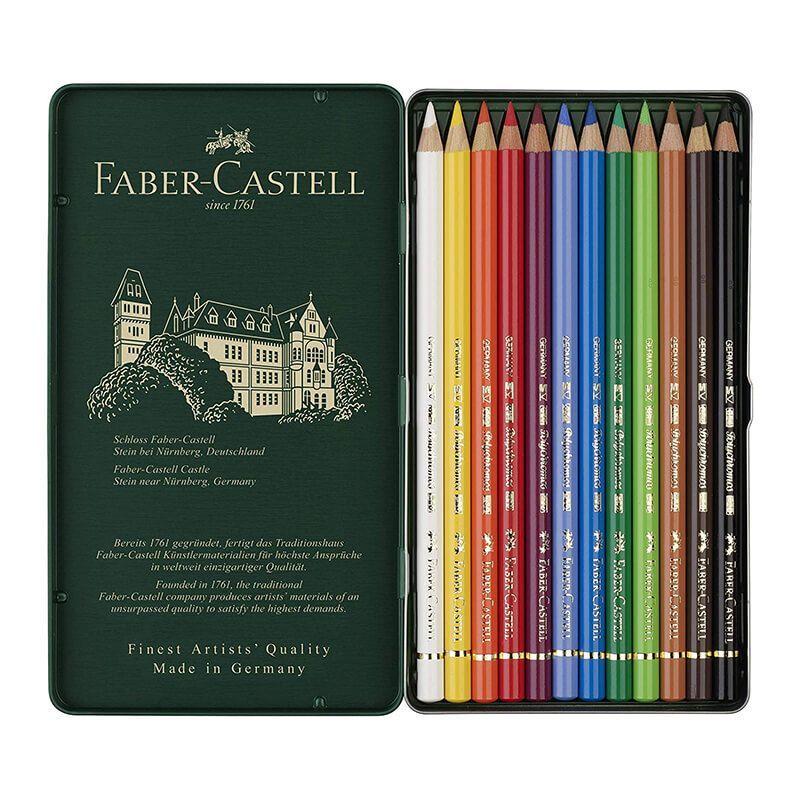 Boite en métal de 12 crayons de couleur Faber Castell Polychromos