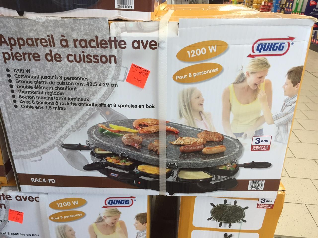 Appareil à raclette Quigg avec pierre de cuisson - 8 personnes