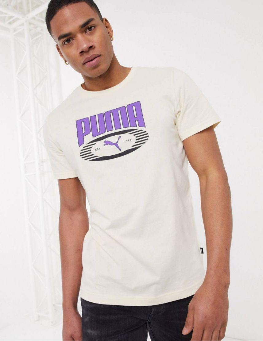 T-shirt manches courtes Puma avec logo - Fumée blanche