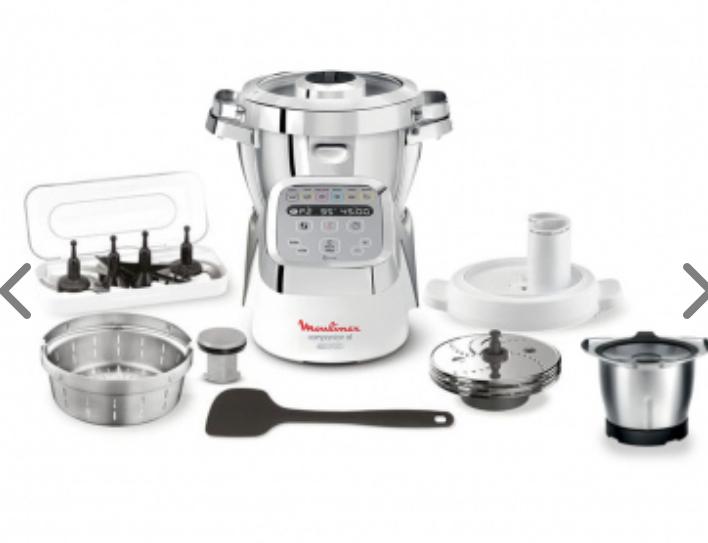 Robot cuiseur Moulinex Companion XL YY3979FG (1550 W, 12 programmes) + Mini bol cuisson & Découpe légumes (Blanc & Silver)