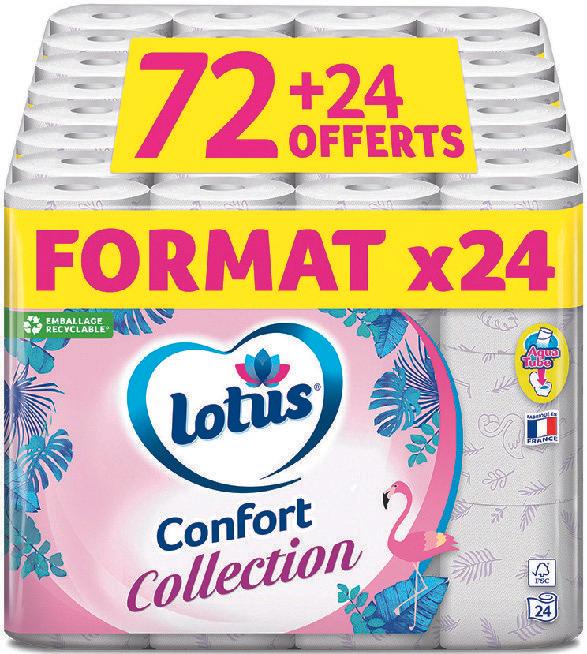 96 Rouleaux de Papier Toilette Lotus Collection