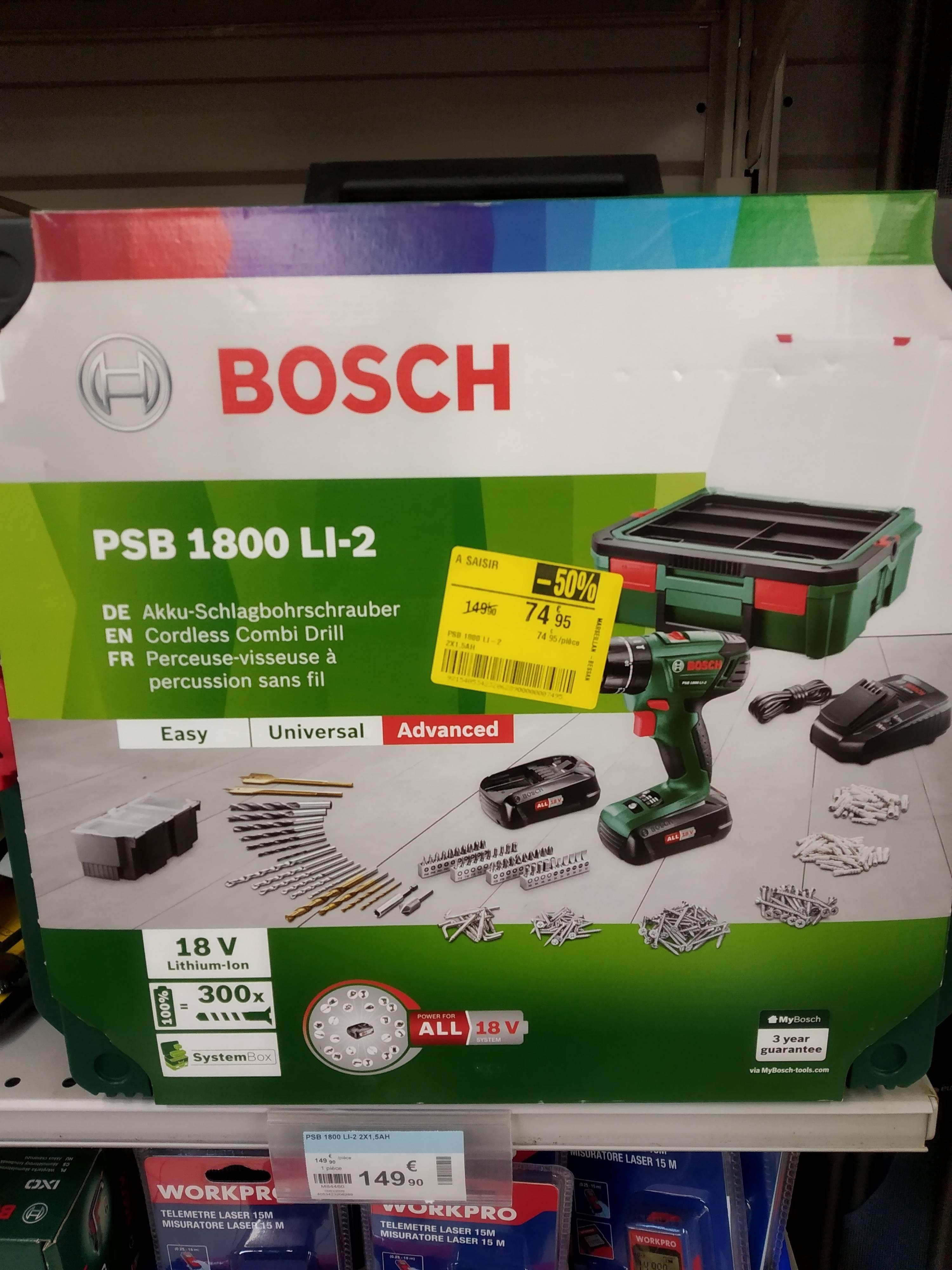 Perceuse-visseuse à percussion Bosch PSB 1800 LI-2 18 V + 2 batteries Lithium-Ion 1.5 Ah + SystemBox + 241 accessoires - Marseillan (34)