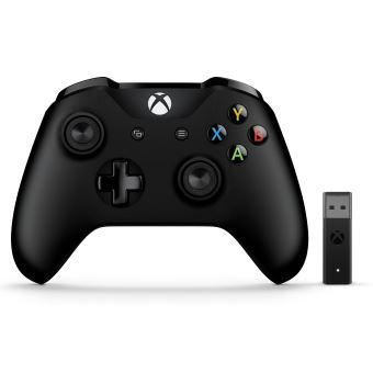 Manette pour Xbox One Microsoft Sans fil Noir + Adaptateur sans fil pour PC