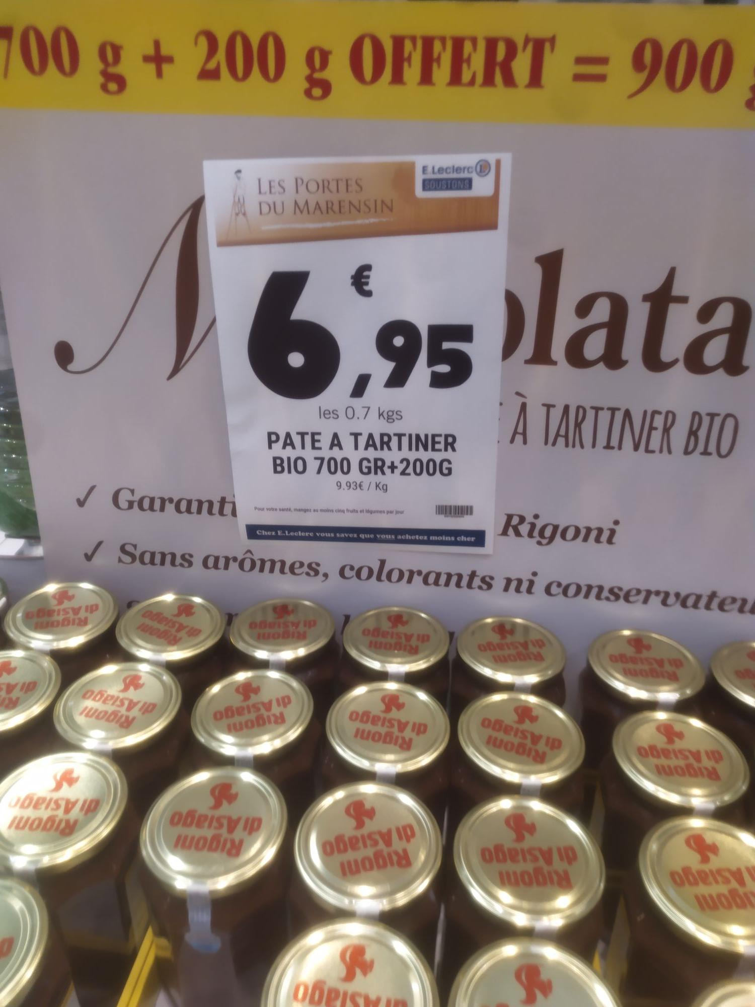 Pâte à tartiner certifiée bio Nocciolata - 900g - Soustons (40)