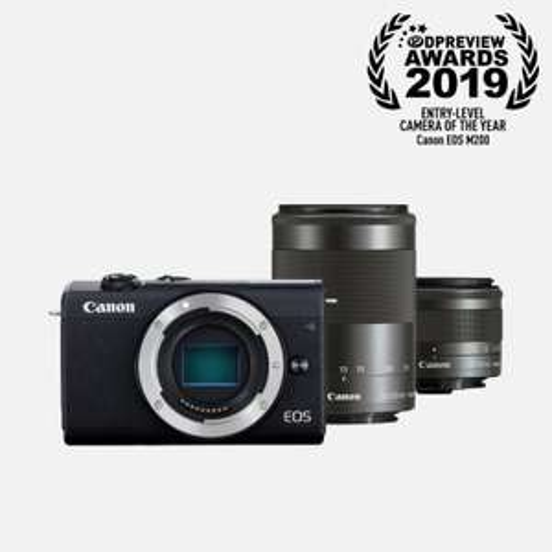 Appareil Photo Hybride Canon EOS M200 (Noir) + Objectif EF-M 15-45mm + Objectif EF-M 55-200mm