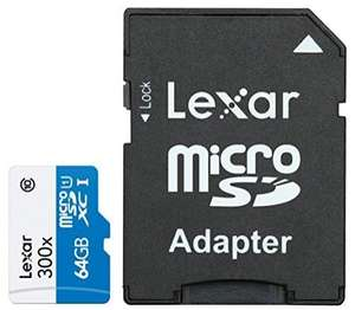Carte mémoire MicroSDXC Lexar 64 Go Classe 10 UHS-I avec Adaptateur SD