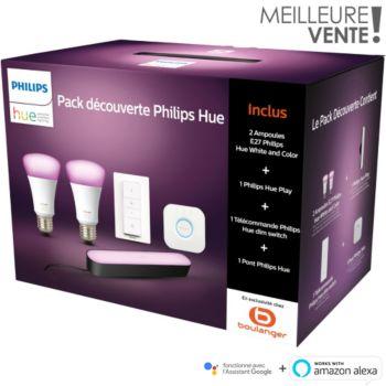 Pack découverte 2 ampoules E27 Philips Hue White & Color + 1 Hue Play + Commande Dim Switch + Pont