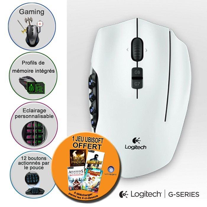 Logitech G600 blanche + 1 jeu offert