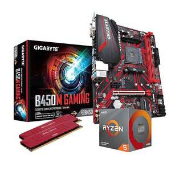 Processeur AMD Ryzen 5 3600 + Carte Mère Gigabyte B450M + 16Go (2 x 8 Go) de RAM Ballistix 3600MHz