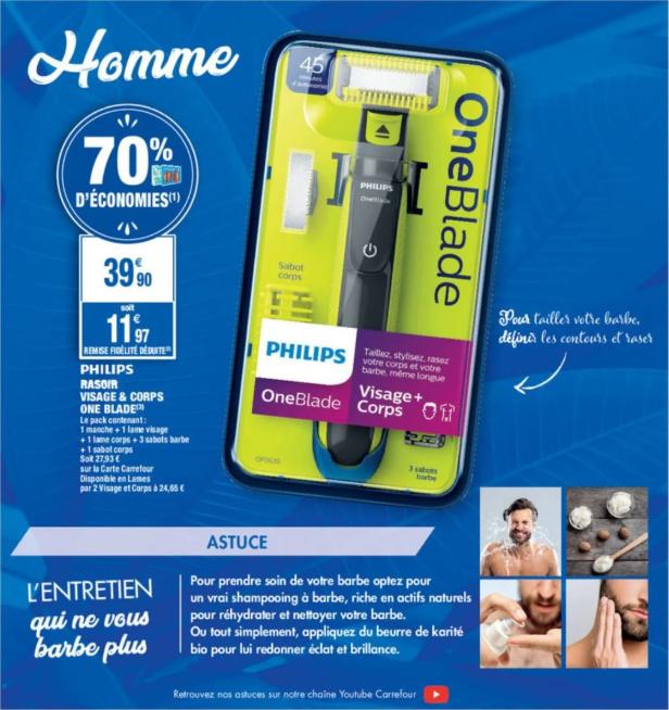 Rasoir électrique Philips One Blade Visage & Corps + 2 lames (Via 27.93€ sur la carte fidélité)