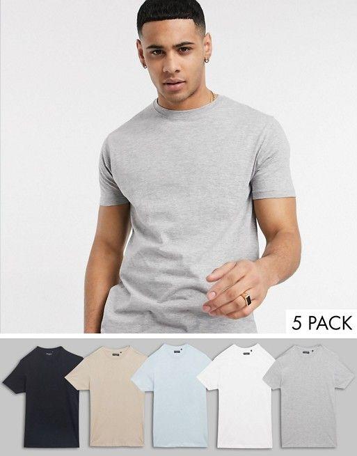 Lot de 5 T-shirts ras de cou Brave Soul
