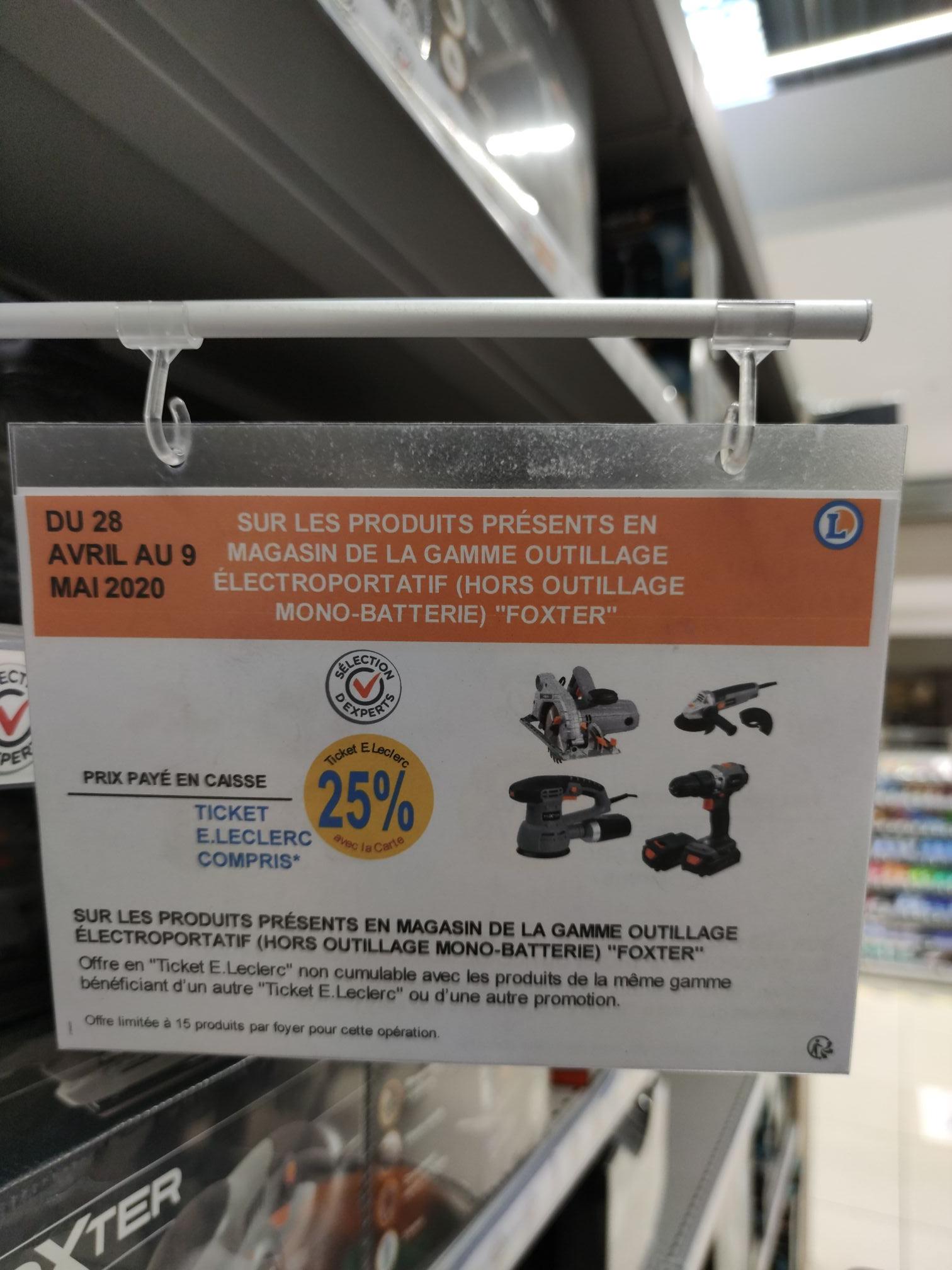 [Carte Fidélité] 25% offerts en bon d'achat sur une sélection d'Outillage électroportatif Foxter
