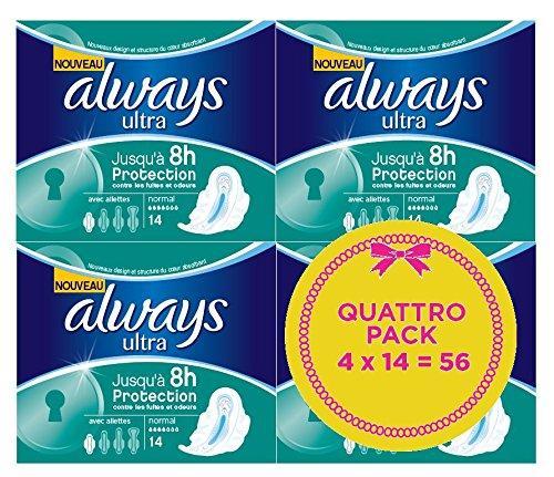[Panier plus] Lot de 56 Serviettes Hygiéniques Always  Normal Plus avec Ailettes Quattro