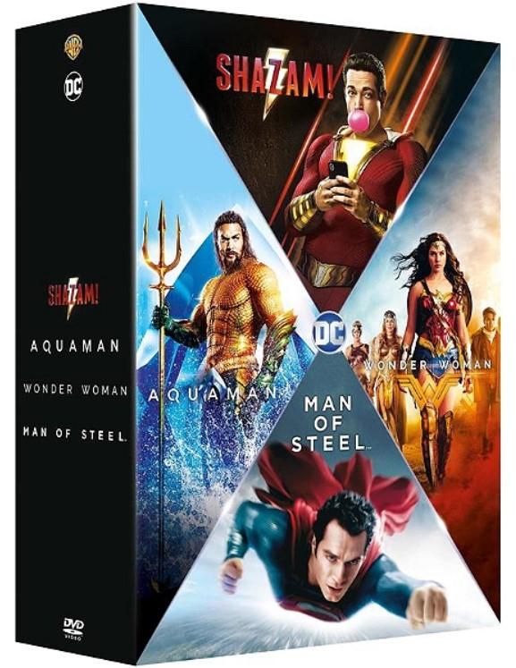 Coffret DVD Origin Stories 4 Films Justice League : Man of Steel, Wonder Woman, Aquaman, Shazam + Django Unchained