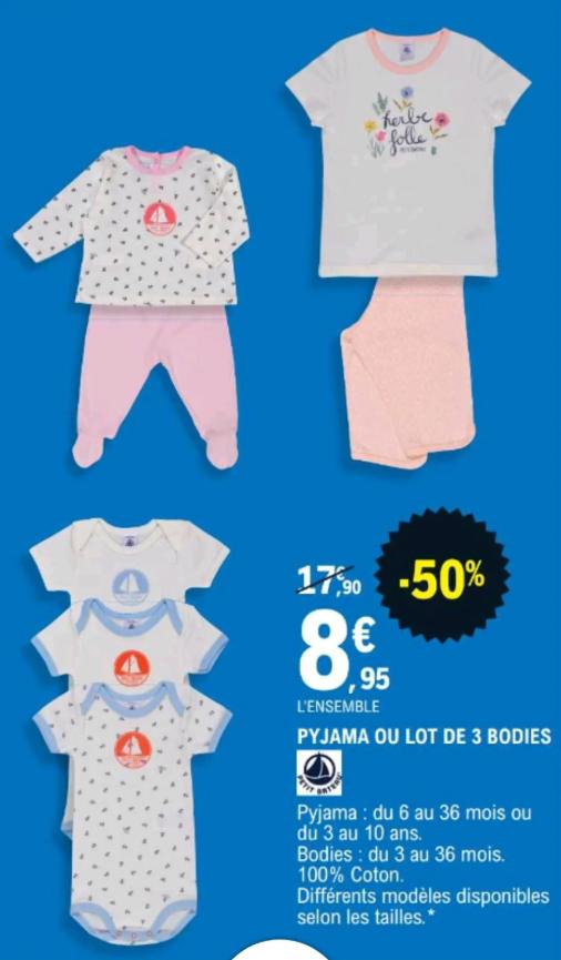 Pyjama ou lot de 3 bodies Petit Bateau