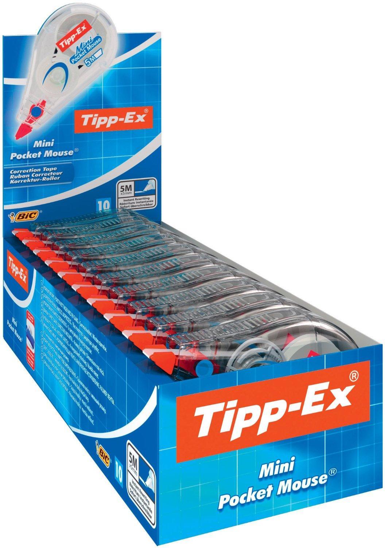 Lot de 10 Minis rubans correcteur jetables Tipp-Ex  5 mm x 5 m