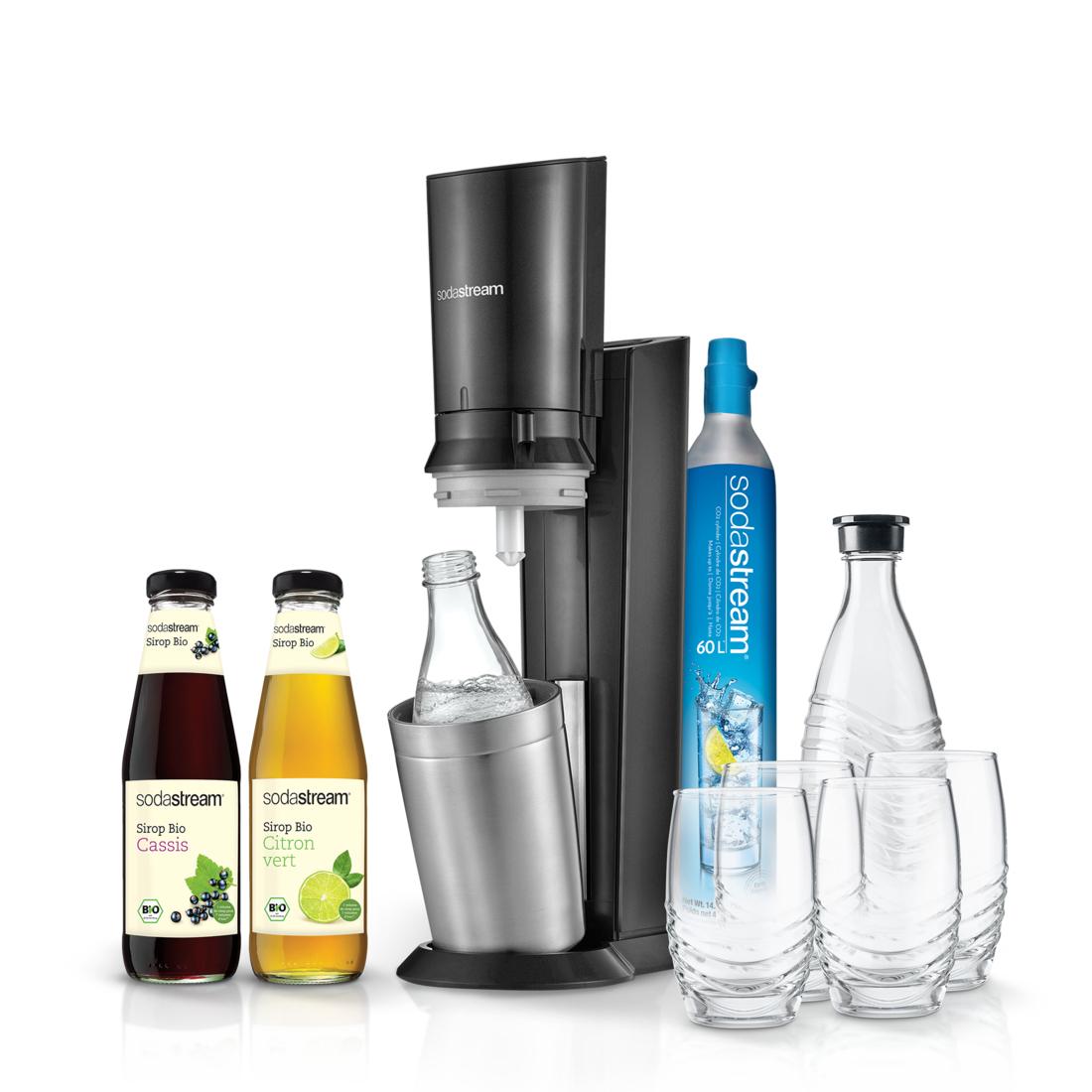 Pack Machine à gazéifier Sodastream Crystal + 4 Verres + 2 Carafes + 2 Sirops + Bonus fête des mères