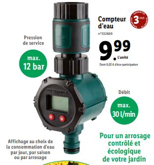 Compteur d'eau Aquamètre Parkside - Max 12 bar