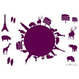 Sélection de Stickers muraux en promo - Ex : Stickers Ma Planete bordeaux 70x100cm