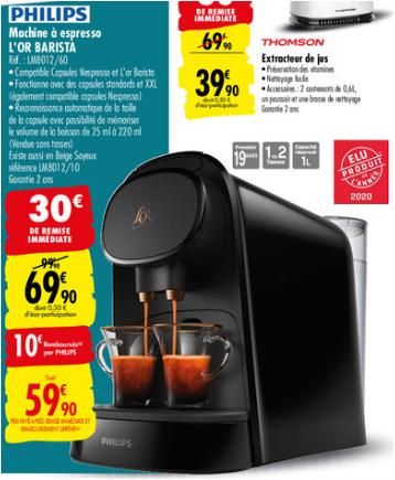 Machine à café Philips L'OR Barista (Via ODR 10€)