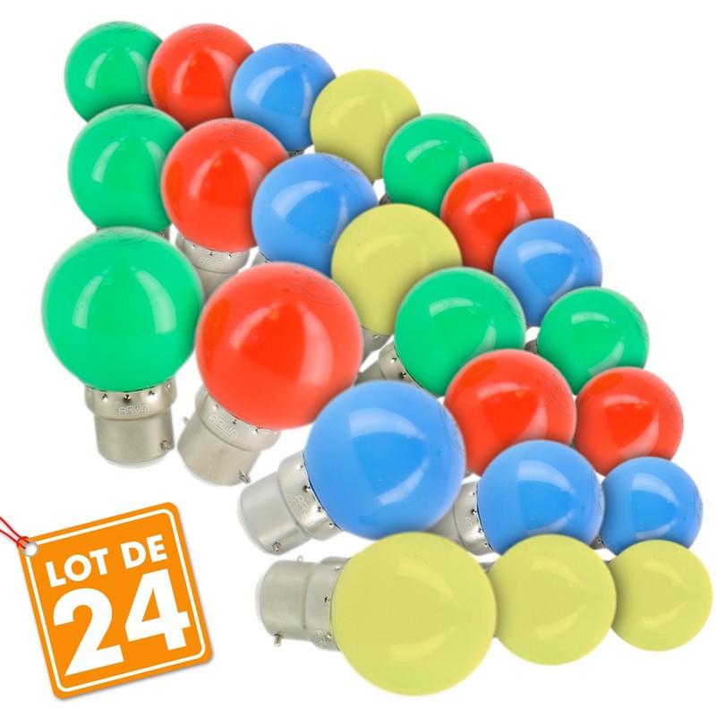 Lot de 24 Ampoules LED 1w pour Guirlande guinguette extérieur - B22